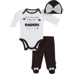 Oakland Raiders Baby Girl Outfit, 3pc Set - 6M