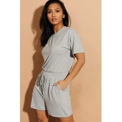 Grey Drawstring Waist Relaxed Fit Playsuit found on Bargain Bro from SinglePrice for USD $12.21