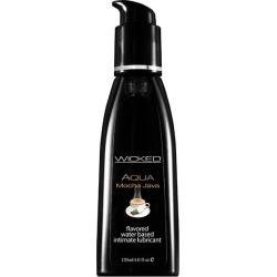 Wicked Aqua Mocha Java - Mocha Java Flavoured Water Based Lubricant - 120 ml (4 oz) Bottle