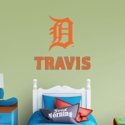 """Detroit Tigers: Old English """"D"""" Stacked Personalized Name - Officially Licensed MLB Transfer Decal in Orange (52""""W x 39.5""""H) by"""