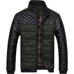 Costbuys  Men's Puffer Jacket Casual Warm Parka Men Winter Jacket Patchwork Pu Leather Coat Korean Male Clothes - Armygreen / XX
