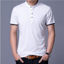 Costbuys  Summer Mens Polo Shirt Pure Cotton Short-Sleeve Slim Fit Shirts Mandarin Collar Casual Shirts - White / S