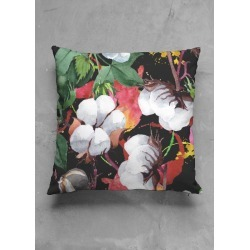 Square Pillow - Tropical Flower Feeling in Brown/Red/White by VIDA Original Artist