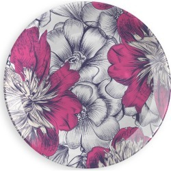 Round Glass Tray - Sketch Flowers in Pink/Purple/White by Haris Kavalla Original Artist found on Bargain Bro India from SHOPVIDA for $95.00