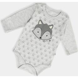 Grey Fox Print Baby Bodysuit
