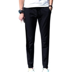 Costbuys  Casual Simple Spring Autumn Men Pants Slim Solid Color Straight Man Fashion Trousers H9 - Black / XL