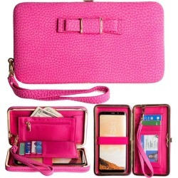 Samsung Galaxy J7 TOP - Bow clutch wallet with hideaway wristlet, Pink found on Bargain Bro India from cellularoutfitter.com dynamic for $9.99