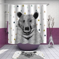 Black and White Bear Shower Curtain found on Bargain Bro India from Simply Wholesale for $46.62