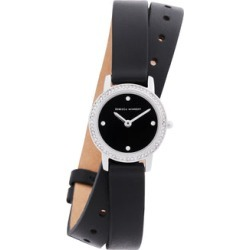 Major Silver Tone Black Vegan Leather Strap Watch, 22mm