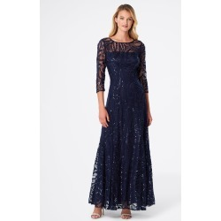 Tahari ASL 3/4 Sleeve Sequin A-Line Gown Navy Blue Size: 14