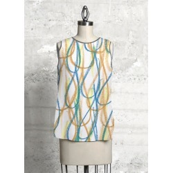 Sleeveless Top - The Waiting Game in Blue/Brown/Yellow by VIDA Original Artist