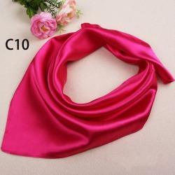 Costbuys  Unisex Satin Solid Plain Color Mini Scarf Men Women Square Neckerchief Small Wrap 60cm - Rose Red