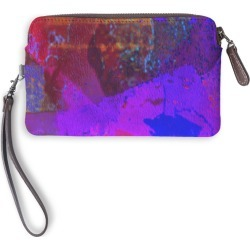 Leather Statement Clutch - A Painter's Canvas #47 in Blue/Brown/Pink by PRIDE Original Artist