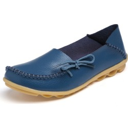 Costbuys  Women lace up Flat Shoes Woman Loafers Women's Fashion genuine leather Casual Shoes - blue / 9.5