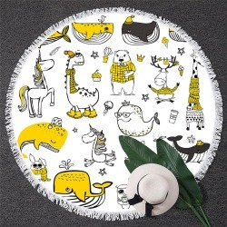 Yellow Animals Drawing Beach Towel found on Bargain Bro India from Simply Wholesale for $35.46