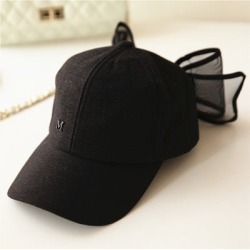 5e407dabe09ad Costbuys Big Bowknot Baseball Cap Lovely Hats Black Pink White Colors  Cotton Mesh Mark Bow Caps