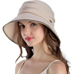Costbuys Women Summer 100% Cotton Hats Wide Brim Floppy Bucket Sun Hat Casual Beach Hat 4 Colors Sombreros - Beige / 56 cm to 5