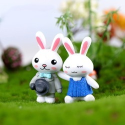 Costbuys  2pc/lot Lovely Rabbit couple Accessories Doll House Decoration animal models plastic girl toy - With Hat