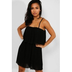 Black Layered Pleated Cami Playsuit found on Bargain Bro from SinglePrice for USD $17.29