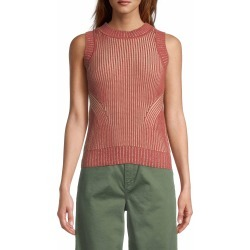 Nicole Miller Plaited Cotton Sleeveless Sweater In Rust | Size Large found on MODAPINS from Nicole Miller for USD $145.00