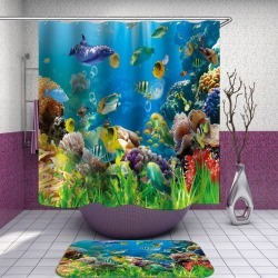 Colorful Coral Reef and Fish Shower Curtain found on Bargain Bro from Simply Wholesale for USD $35.43