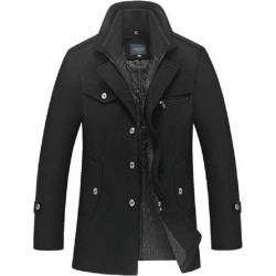Costbuys  Winter Coat Men Long Wool Thick Windbreaker Woolen Overcoat  Men's Casual Trench - Black / M