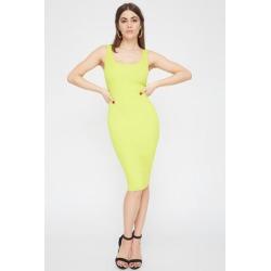 Ribbed Scoop Neck Midi Dress-S/P-Neon Yellow