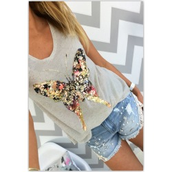 Costbuys Summer t shirts for women 3D Sequined Butterfly short Sleeve grey t shirt womens clothing summer tops cute tees - Burg