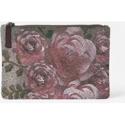 Carry-All Pouch - Pink Roses Juul Pouch in Brown/Pink/Purple by VIDA Original Artist