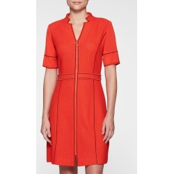 Ming Wang Textured A-Line Zip-Front Dress - Poppy Red / S - Spring 2019 Collection - Markdown found on Bargain Bro Philippines from Ming Wang Knits for $295.00
