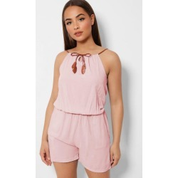 Pink 100% Cotton Lightweight Halterneck Summer Playsuit found on Bargain Bro from SinglePrice for USD $5.08