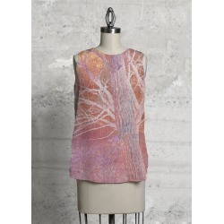 Sleeveless Top - Rose Gold Silk Shell in Pink/Rainbow by VIDA Original Artist found on MODAPINS from SHOPVIDA for USD $75.00