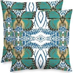 Square Pillow - Teal Monarch Pattern Art by VIDA Original Artist found on Bargain Bro Philippines from SHOPVIDA for $30.00