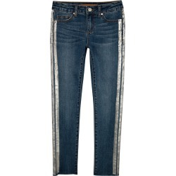 Joe's Jeans Women's Metallic Stripe Skinny (Big Girls) Jeans in Dark Indigo | Size 7 | Cotton/Spandex
