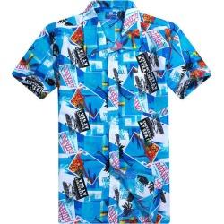 Costbuys  Summer Fashion Beach Men Shirt Short Sleeve Casual Hawaiian Shirt - Blue / Chinese Size 3XL