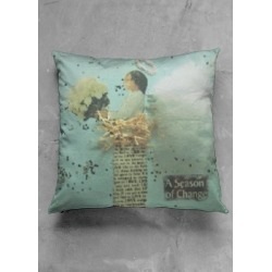 Accent Pillow - Luster Square - A Season Of Change in Green by VIDA Original Artist