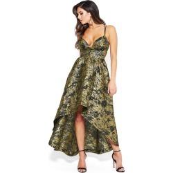Bebe Women's Jacquard Hi Lo Gown, Size 0 in Gold Jacquard Metal