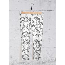 Yoga Capri Pants - Butterflies Game in Black/White by VIDA Original Artist