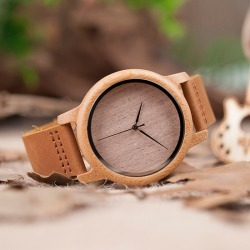 Wooden Watch for Men Real Leather