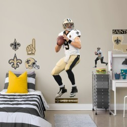 """Drew Brees for New Orleans Saints - Officially Licensed NFL Removable Wall Decal Life-Size Athlete + 11 Decals (29""""W x 76""""H) by"""