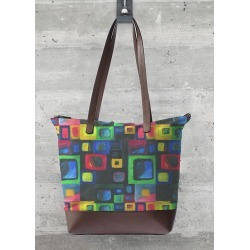 Statement Bag - Build House in Black/Blue/Green by VIDA Original Artist
