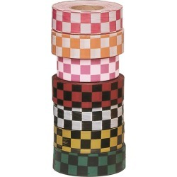 Presco Checkered Flagging Tape, Pink Glo/White