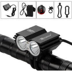 Costbuys  1600 Lm X2 led Bike Bicycle Light Lamp Headlight Rechargeable Flashlight 18650 Battery Accessories for bicycle - Burgu
