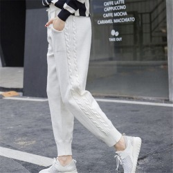 Costbuys  Winter Lace-up Elastic Women Trousers Side Twist Loose Pants Warm Thicken Stretchable Knitted - white