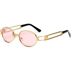 Costbuys  Vintage Designer Fashion Sunglasses Oval Frame UV Protection Ocean film sunglasses Retro punk sunglasses FML - pink