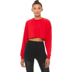 Alo Yoga Double Take Pullover - Scarlet - Size XS - Performance Fabric