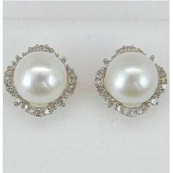 Pearl and Diamond Halo Stud Earrings 14K White and Yellow Gold June Birthstone Wedding Studs