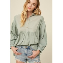 Woven Babydoll Tunic Blouse Top found on Bargain Bro from Shoptiques for USD $37.24