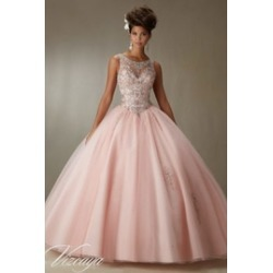 Embroidery and Beading on a Tulle Ball Gown Quinceañera Dress
