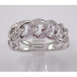 14K White Gold CHAIN LINK Diamond Wedding Ring Anniversary Band Stackable Size 7 Unique Style